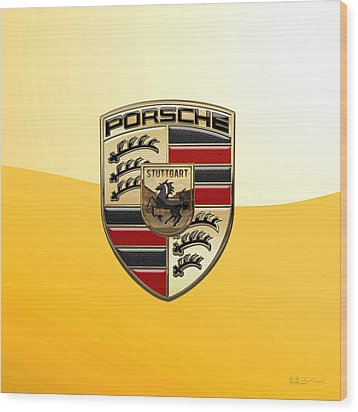 Porsche - 3d Badge On Yellow Wood Print