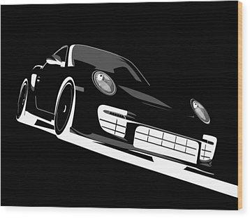 Porsche 911 Gt2 Night Wood Print by Michael Tompsett