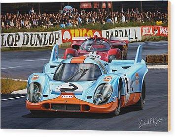 Porsche 917 At Le Mans Wood Print by David Kyte