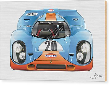 Porsche 917 Gulf On White Wood Print