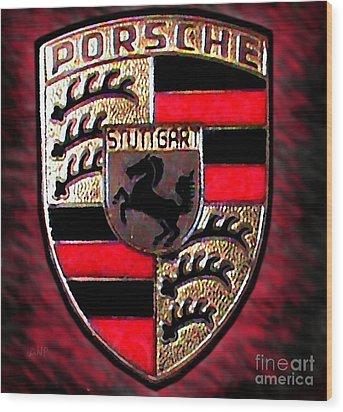 Porsche Emblem Wood Print by George Pedro