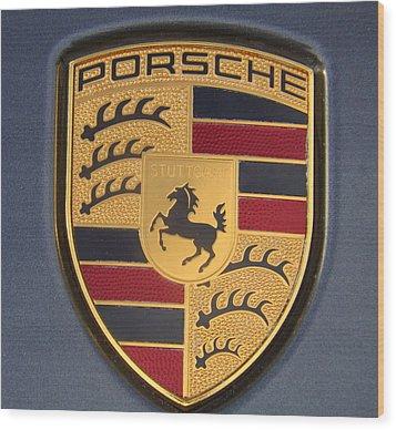 Porsche Emblem Wood Print by Lingfai Leung
