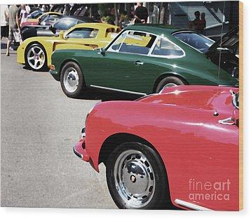 Porsche Row Digital Interpretation Wood Print by Wingsdomain Art and Photography