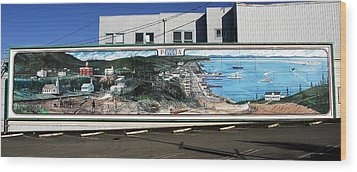 Port Angeles 1914 Mural Wood Print by David Lee Thompson