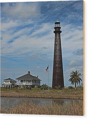 Port Bolivar Lighthouse Wood Print