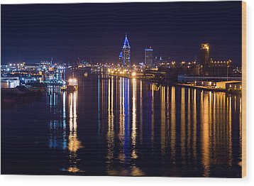 Port City In Blue Wood Print