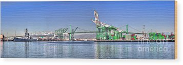 Port Of Los Angeles - Panoramic Wood Print by Jim Carrell