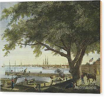 Port Of Philadelphia, 1800 Wood Print by Granger