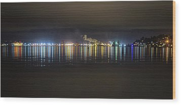 Port Of Tacoma Lights Wood Print