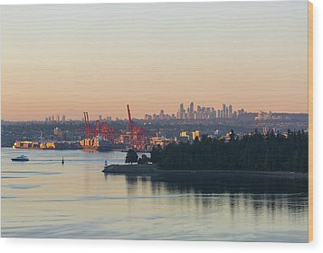 Port Of Vancouver By Stanley Park Wood Print by David Gn