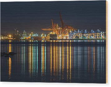 Port Of Vancouver In British Columbia Canada Wood Print by David Gn