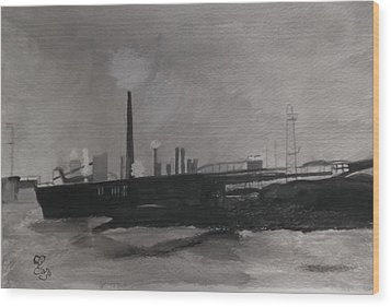 Port Talbot Steel Works Wood Print by Carole Robins