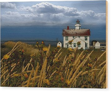 Port Townsend Light House Wa Wood Print by Joseph G Holland