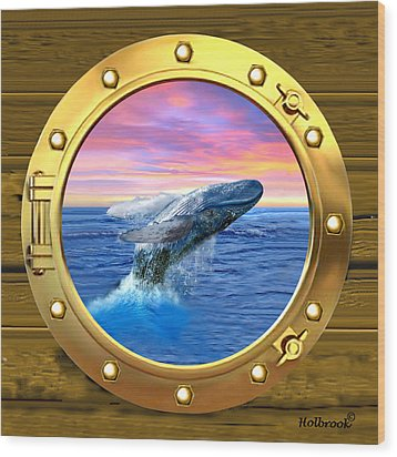 Porthole View Of Breaching Whale Wood Print