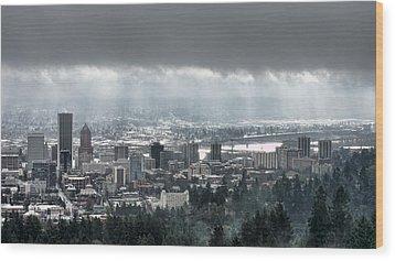 Portland After A Morning Rain Wood Print by Don Schwartz