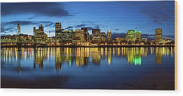 Portland City Skyline Blue Hour Panorama Wood Print by David Gn