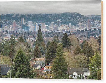Portland City Skyline From Mount Tabor Wood Print by David Gn