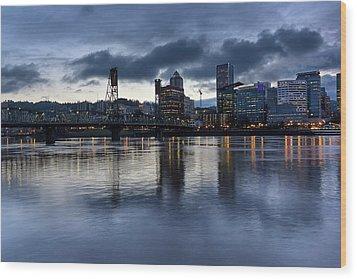 Portland City Skyline With Hawthorne Bridge At Dusk Wood Print by David Gn