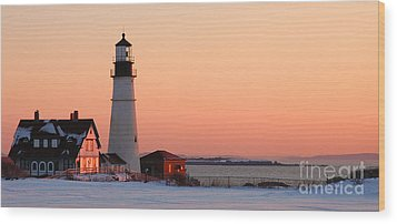 Portland Head Light At Dawn - Lighthouse Seascape Landscape Rocky Coast Maine Wood Print by Jon Holiday