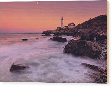 Wood Print featuring the photograph Portland Head Light In Pink  by Emmanuel Panagiotakis