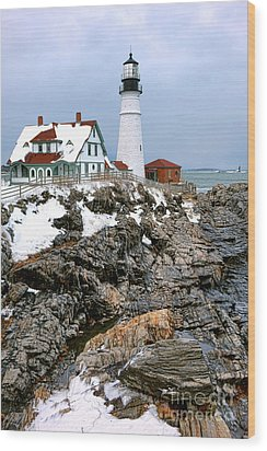 Wood Print featuring the photograph Portland Head Light In Winter by Olivier Le Queinec