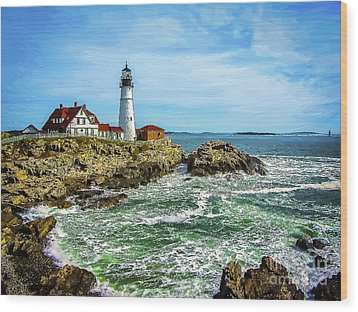 Portland Head Light - Oldest Lighthouse In Maine Wood Print