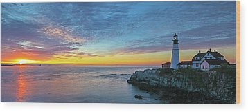 Wood Print featuring the photograph Portland Head Light Sunrise by Juergen Roth