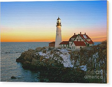Wood Print featuring the photograph Portland Head Light Winter Sunset by Olivier Le Queinec