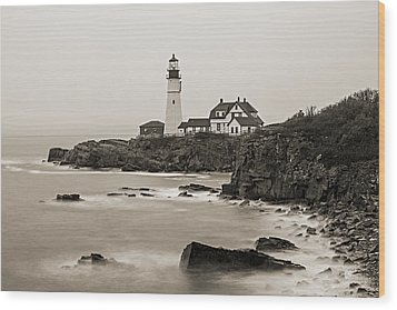 Portland Head Lighthouse Foggy Morning Sepia Wood Print