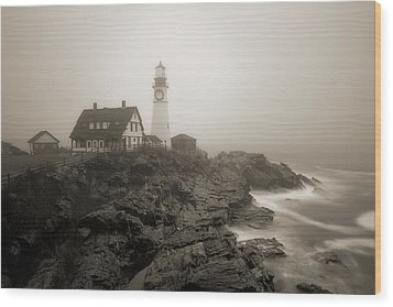 Portland Head Lighthouse In Fog Sepia Wood Print