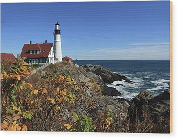 Portland Head Lighthouse In The Fall Wood Print
