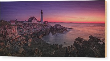 Wood Print featuring the photograph Portland Head Lighthouse Sunrise  by Emmanuel Panagiotakis