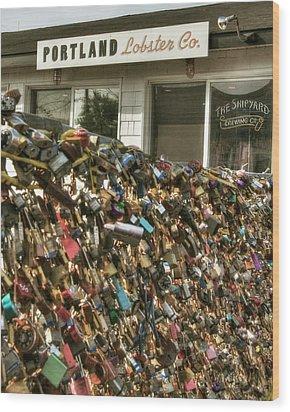 Wood Print featuring the photograph Portland Lobster Co - Locks Of Love by Joann Vitali