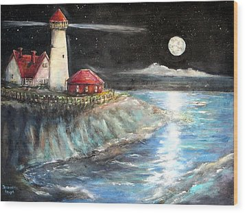 Portland Maine Twilight Wood Print by Bernadette Krupa