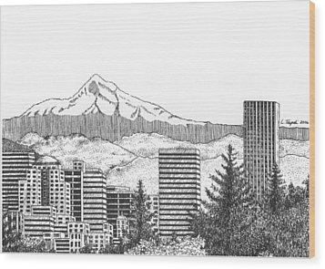 Portland-mt. Hood Wood Print