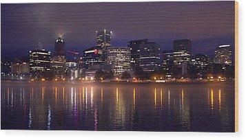 Portland Night Skyline Wood Print by Joseph Skompski