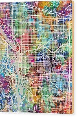 Wood Print featuring the digital art Portland Oregon City Map by Michael Tompsett