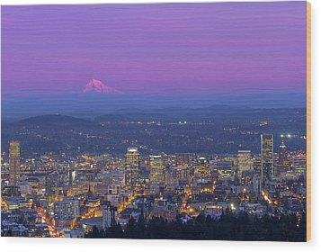 Portland Oregon Cityscape At Dusk Wood Print