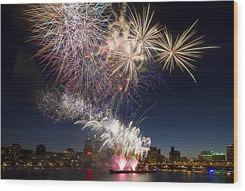 Portland Oregon Fireworks Wood Print by David Gn