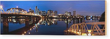 Portland Oregon Skyline Wood Print