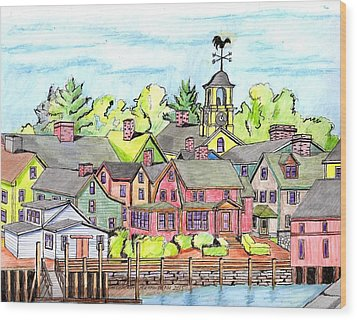 Portmouth Nh Harbor Wood Print by Paul Meinerth