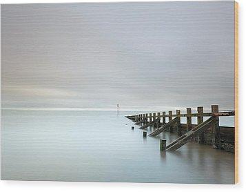 Wood Print featuring the photograph Portobello Sea Groynes by Grant Glendinning