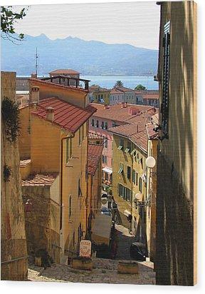 Portoferraio Elba Wood Print by Carla Parris