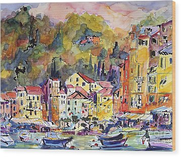 Portofino Italy Wood Print by Ginette Callaway