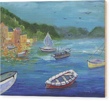 Wood Print featuring the painting Portofino, Italy by Jamie Frier