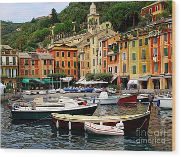 Wood Print featuring the photograph Portofino Italy by Nancy Bradley