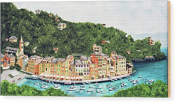Portofino, Italy Prints From Myoriginal Oil Painting Wood Print