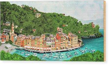 Portofino, Italy Prints From Original Oil Painting Wood Print