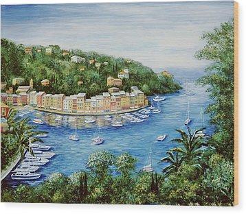 Portofino Majestic Panoramic View Wood Print by Marilyn Dunlap