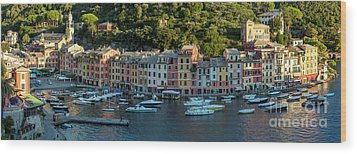 Wood Print featuring the photograph Portofino Morning Panoramic II by Brian Jannsen